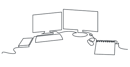 Modern workspace continuous one line vector drawing. Desktop hand drawn silhouette. Two computer monitors with keyboard, mouse and notebook. Workplace essentials. Minimalistic contour illustration Ilustração