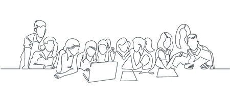Group of people working continuous one line vector drawing. Students preparing to exams, doing homework hand drawn characters. Coworking. Job meeting, discussion. Minimalistic contour illustration Ilustração