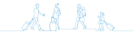 People walking with luggage continuous one line vector drawing. Tourists in airport hand drawn characters. Female and male blue silhouettes with baggage, handbags. Minimalistic contour illustration Ilustração