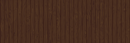 Brown wooden background. Old weathered wood surface with long boards lined up vector illustration. Wooden vertical planks on a wall or floor with grain and texture. Dark tones. Natural painted texture Ilustração