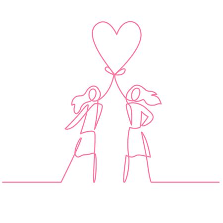Two women holding heart continuous one line vector drawing Stock Illustratie