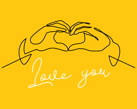 Hands shaping heart continuous one line vector drawing. Love you white lettering. Romantic confession, dating, friendship. Valentine day greeting card template. Minimalistic contour illustration