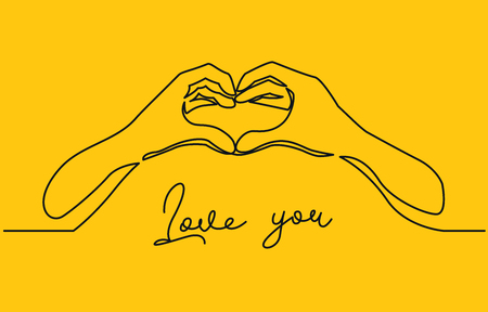 Hands shaping heart continuous one line vector drawing. Love you lettering. Romantic confession, dating, friendship. Valentine day greeting card template. Minimalistic contour illustration
