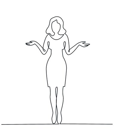 Continuous Line Drawing of Young woman spread her hand and shrugging shoulder.