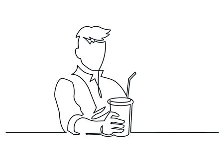 Man with paper glass continuous one line vector drawing Stock Illustratie