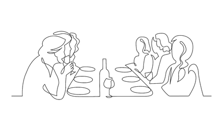 Birthday party continuous one line vector drawing. B-day celebration. Hand drawn family dinner, holiday, festival. Woman and guests sitting at table. Thanksgiving Day illustration. Funeral banquet. 向量圖像