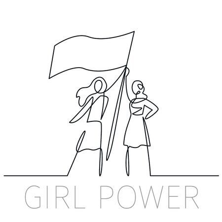 Continuous one line drawing girl power. Vector illustration in linear icon feminism concept