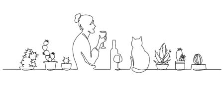 Continuous one Line Drawing young girl drinks wine at home by the window with cat and Cute House Plants. Stock Illustratie
