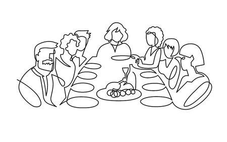 Dibujo vectorial de una línea continua de fiesta de cumpleaños. Celebración del día B. Cena familiar dibujada a mano, vacaciones, festival. Mujer e invitados sentados a la mesa. Ilustración del día de acción de gracias. Banquete fúnebre.