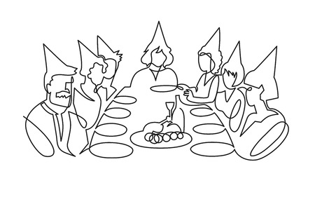 Birthday party continuous one line vector drawing. B-day celebration. Hand drawn family dinner, holiday, festival. Woman and guests in birthday hats sitting at table. Minimalistic contour illustration Ilustração