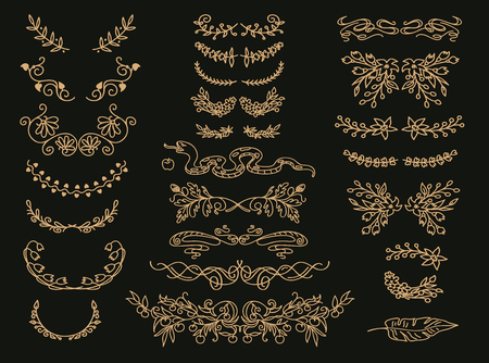 Flourish vector text dividers set. Floral vintage embellishments, wreaths. Golden design elements. Elegant gilded decorative cliparts. Wedding invitation, greeting card, page filigree decorations