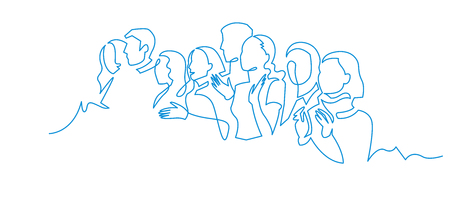 Group of people continuous one line vector drawing. Family, friends hand drawn characters. Crowd standing at concert, meeting. Women and men waiting in queue. Minimalistic contour illustration Foto de archivo - 115939383
