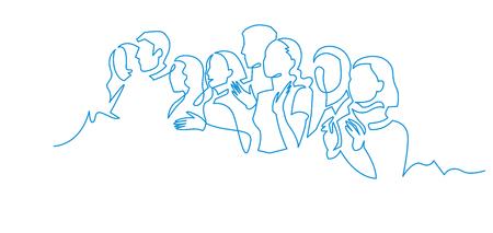 Gruppo di persone disegno vettoriale di una linea continua. Famiglia, amici personaggi disegnati a mano. Folla in piedi al concerto, incontro. Donne e uomini in attesa in coda. Illustrazione minimalista del contorno Vettoriali