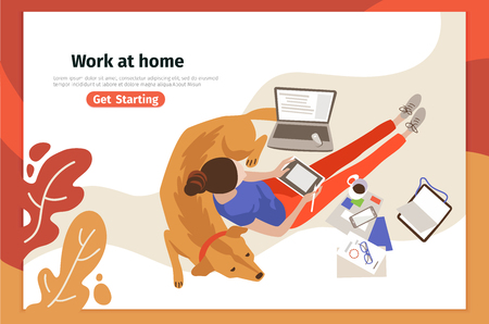 Work at home landing page vector template. Remote job webpage design layout with flat illustrations. Freelancer character. Young woman working with laptop. Freelance website, web banner color concept