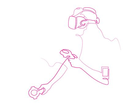 Virtual reality gaming continuous one line vector drawing Çizim