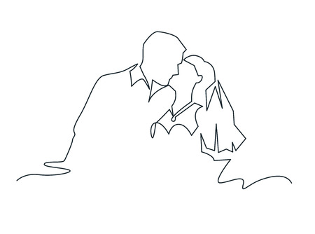 Just married couple continuous one line vector drawing. Making out husband and wife hand drawn romantic silhouettes. Kissing bride and groom. Wedding, love concept. Minimalistic contour illustration
