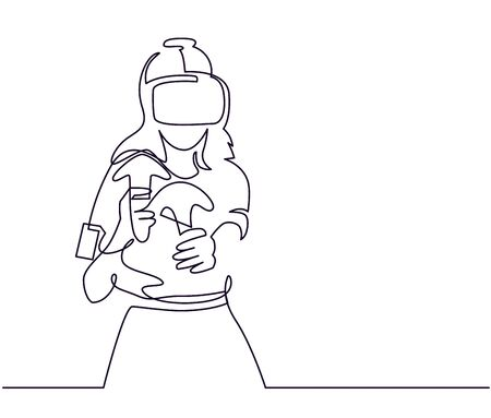Virtual reality gaming continuous one line vector drawing Illustration
