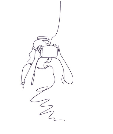 Virtual reality gaming continuous one line vector drawing. Woman in VR glasses, holding motion controller. 3D augmented entertainment. Hand drawn female silhouette. Minimalistic contour illustration Vektorové ilustrace