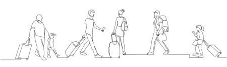 People walking with luggage continuous one line vector drawing Çizim