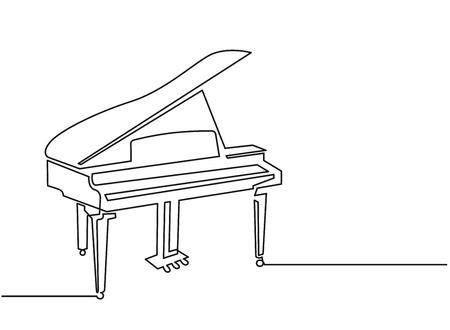 Dessin vectoriel continu d'une ligne de piano. Clipart de silhouette dessinés à la main Pianoforte. Croquis d'instrument de musique acoustique. Illustration de contour minimaliste de piano à queue. Élément de design linéaire isolé