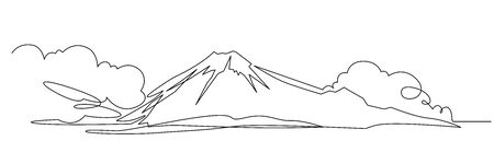 Mountain landscape continuous one line vector drawing Иллюстрация