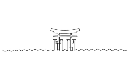 Itsukushima shrine continuous one line vector drawing. Great Torii hand drawn silhouette. Japanese shinto temple gate. Chinese architecture, Miyajima landmark, sightseeing minimalistic illustration