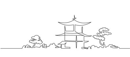 Japanese Buddhist temple continuous one line vector drawing Çizim
