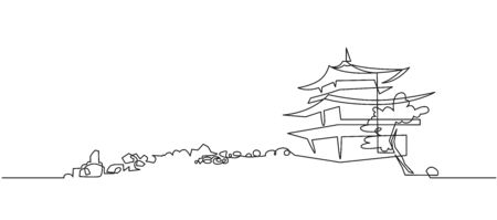 Japanese Buddhist temple continuous one line vector drawing Stock Illustratie