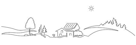 Dessin vectoriel continu d'une ligne de paysage rural. Collines, maisons, silhouette dessinée à la main de voyage en voiture. Croquis panoramique de nature paysanne. Illustration de contour minimaliste de village. Élément de design isolé