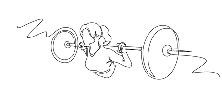 Woman lifting weights continuous one line drawing. Female bodybuilder vector hand drawn silhouette clipart. Lady working out. Gym training illustration. Squats with barbell linear design element Illustration