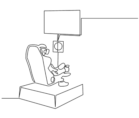Person playing VR games continuous one line drawing. Back view of character in headset clipart. Virtual reality motion chair vector silhouette. Racing simulator illustration. Isolated design element Ilustração