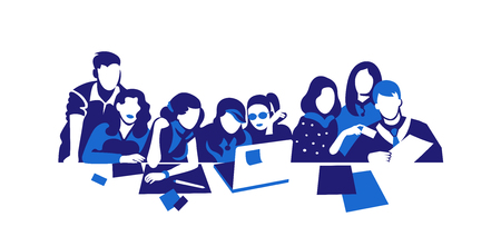 Group of people working continuous silhouette vector drawing. Students preparing to exams, doing homework hand drawn characters. Coworking. Job meeting, discussion. Cartoon flat illustration isolated