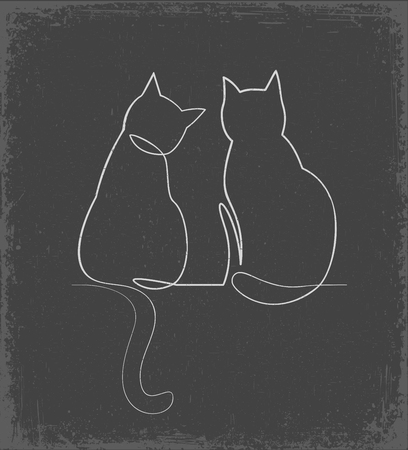 Continuous one line drawing of two happy cats hand drawn silhouette clipart. Simple ink drawing sitting cat cute vector illustration. Doodle animals icons minimalistic chalk doodle on grey background