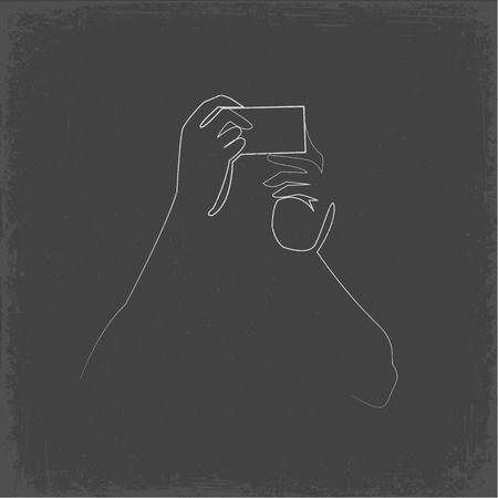Person taking selfie continuous one line vector drawing. Hands holding smartphone minimalistic contour illustration. Mobile phone, photo hand drawn silhouette clipart. Chalk doodle on grey background