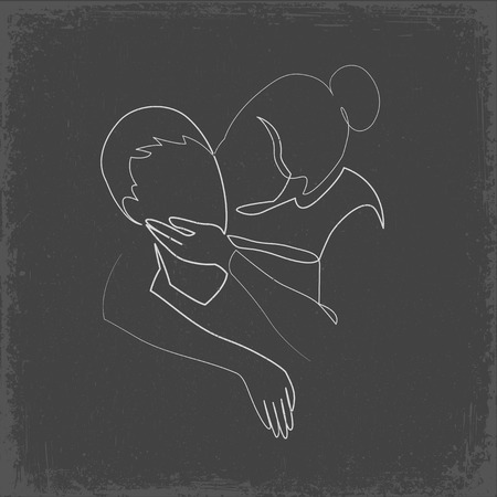Romantic kiss of two lovers one line vector drawing. Newlyweds, young people. Loving couple kissing hand drawn silhouette clipart. Chalk doodle on grey background, valentines day art. Woman accepted Ilustração