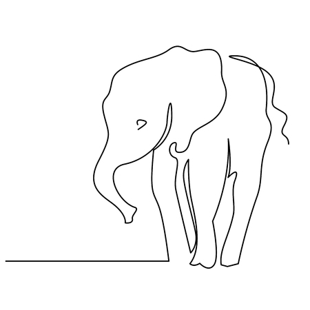 Elephant continuous one line drawings. Wild large animals vector silhouette clipart. African jungle, rainforest mammals herd minimalistic illustrations pack. Indian wildlife linear design element