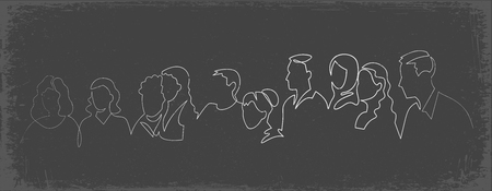 Group of people continuous one line vector drawing. Family, friends hand drawn characters silhouette clipart. Crowd standing at concert, meeting. Women and men waiting in queue. Chalk doodle Ilustração