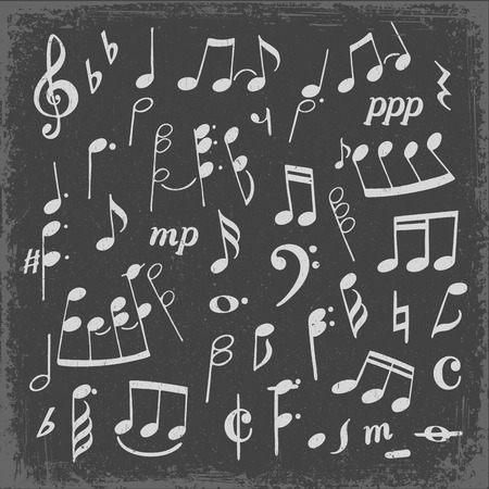Set of music notes hand drawn cartoon vector illustration. Printed music hand drawn silhouette clipart. Chalk doodle on grey background Ilustração