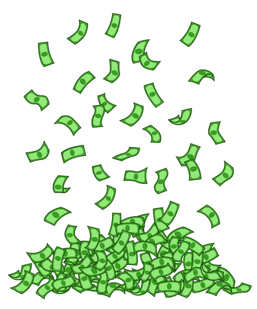 Green banknotes rain vector illustration. Heap, pile of money flat clipart. Dollars falling isolated design element. Cash flying contour color drawing. Profit, income, fortune. Jackpot, prosperity Ilustração