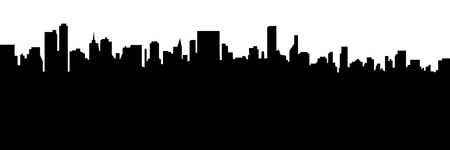 Modern cityscape black silhouette vector banner design. Metropolis architecture panoramic landscape. New York skyscrapers hand drawn silhouette. Apartment buildings isolated minimalistic illustration