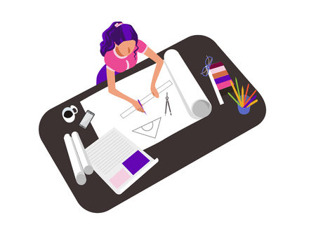 Woman drawing, sketching flat vector illustration. Female architect drafting project, working from home, office. Freelancer, remote worker hand drawn cartoon character. Artist workplace top view