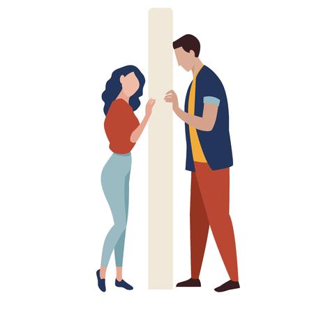Misunderstanding vector illustration. Problems in relationships. Wall between couple.