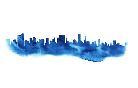 Modern cityscape blue watercolor silhouette drawing.