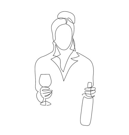 Women holding wine glass and bottle continuous one line vector drawing. Çizim
