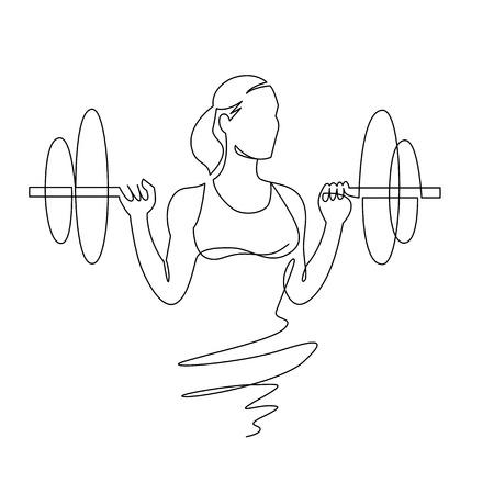 Mujer levantando pesas dibujo continuo de una línea. Mujer culturista vector silueta dibujada a mano clipart. Señora haciendo ejercicio. Ilustración de entrenamiento de gimnasio. Sentadillas con elemento de diseño lineal con barra.