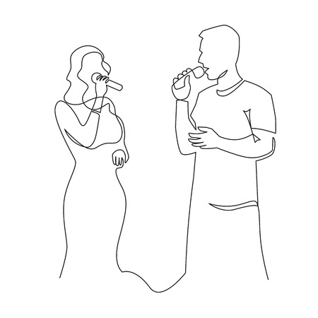 People singing karaoke continuous one line drawing. Couple with microphones sing duet. Amateur song contest, competition. Entertainment, party evening. Minimalistic line art style illustration