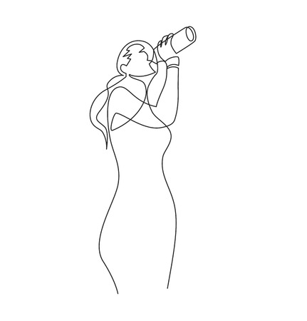 Woman drink water single ink pen line drawing. Thirst, hydration, wellness. Thirsty girl with fresh beverage bottle. Fitness, sport. Healthy lifestyle, liquid diet. Hand drawn contour illustration