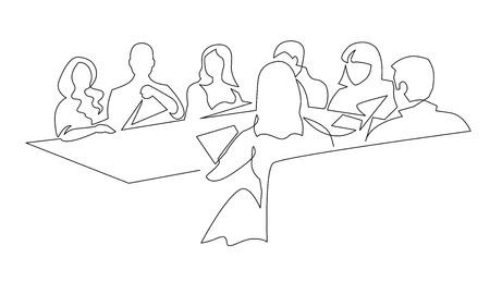 Disegno a tratteggio continuo di riunione del gruppo di affari. Colleghi che discutono dello sviluppo del business. Coworking, illustrazione di contorno minimalista di cooperazione. Partnership aziendale, comunicazione tra colleghi Vettoriali
