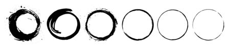 Abstract black paint brushstroke circles pack. Enso zen ink brush style symbol set. Ilustração