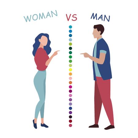 Woman versus man, quarrel flat vector illustration